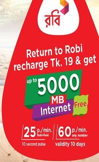 Robi 5000 MB Free Internet Offer