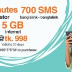 Banglalink 1200 Minutes, 700SMS & 5GB Internet 998TK Offer