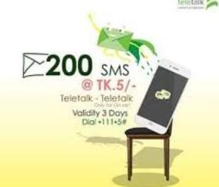 Teletalk 200SMS 5Tk