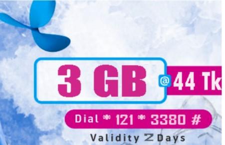 GP 3GB 44Tk Internet Offer 2019