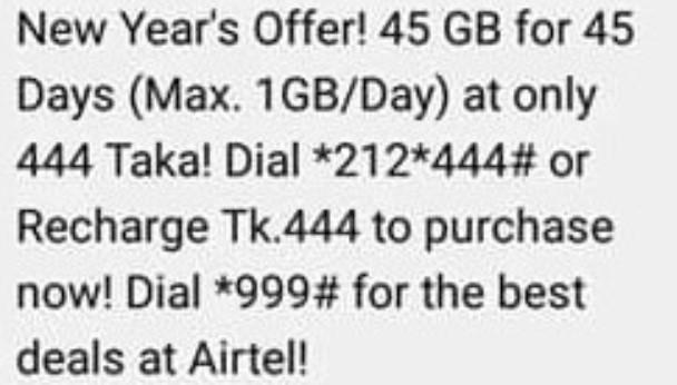 Robi 45GB Internet 444Tk