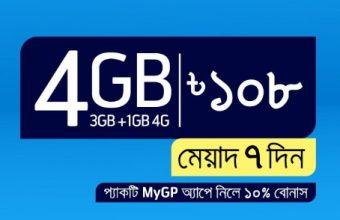 GP 4GB Internet 108Tk Offer